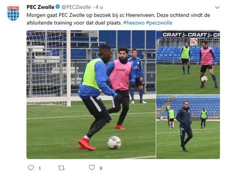 SC Heerenveen - PEC Zwolle twitter