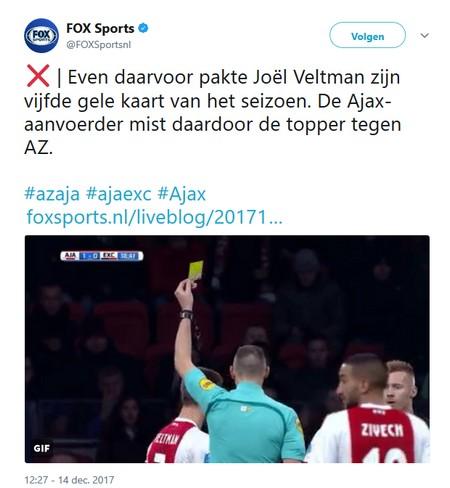 AZ - Ajax zonder Joël Veltman