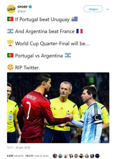 8e finales WK Voetbal 2018 en dan Messi-Ronaldo in kwartfinale