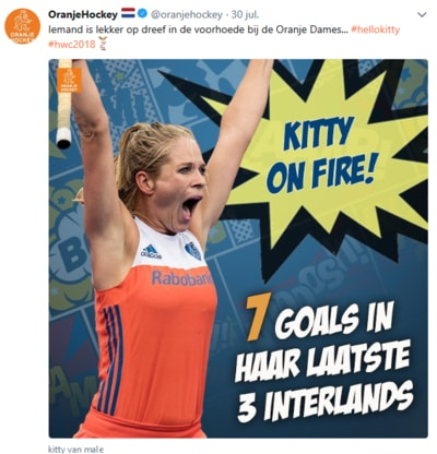 Kitty on fire op het WK Hockey 2018