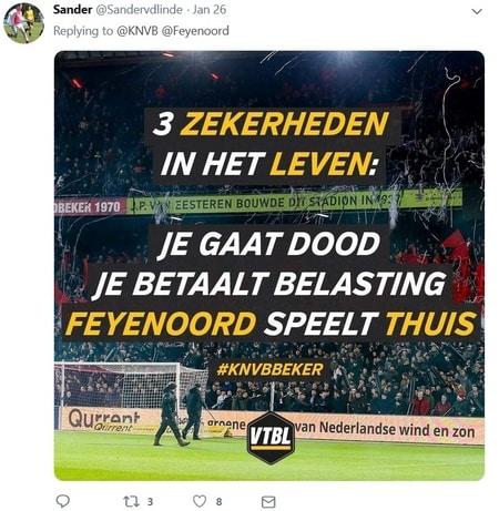 halve finales KNVB Beker met (thuis) Feyenoord-Ajax