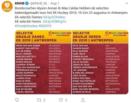 selecties EK Hockey 2019