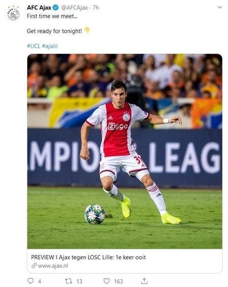 OSC Lille opening Ajax Champions League 2019-2020 seizoen