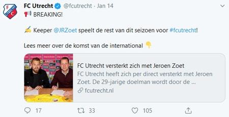 spectaculaire transfer bij voetbalcompetitie 2020 twitter FC Utrecht screenshot